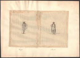 Olvashatatlan Jelzéssel: Férfi Nemzeti Ruhaviseletek Cca 1850 (4db). Tus, Hártyapapír, Kis Gyűrődésekkel, Egyik Hajtott, - Non Classificati