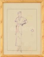 Jelzés Nélkül: Húszas évekbeli Divatrajzok. Tus, Pauszpapír, üvegezett Keretben, 29×21 Cm - Non Classificati