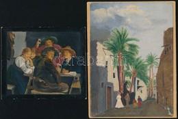 2 Db Festett Kép Jelzés Nélkül. Olaj, Akvarell, Karton. 11x13, 18x14 Cm - Non Classificati