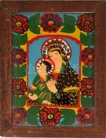 Jelzés Nélkül: Mária A Kis Jézussal. Erdélyi Festett üveg Ikon, Fa Keretben, 39×27,5 Cm - Non Classificati