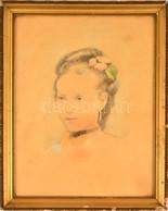 Jelzés Nélkül: Fiatal Hölgy Portréja. Akvarell-ceruza, Papír, üvegezett Keretben, 39×28 Cm - Non Classificati
