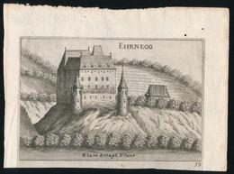 Cca 1750 Az Ehrneggi Kastély / Schloss Ehrnegg. Részmetszetű Illusztráció 15,5x10,5 Cm - Incisioni