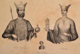 XIX. Sz. Közepe: Szt István, Gizella és Imre Herceg Kőnyomatos Képe. 28x19 Cm Foltos. - Incisioni