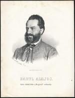 1867 Dr. Hartl Alajos Budai Orvos, Később Belügyminiszteri Tiszteletbeli Titkár, Királyi Tanácsos, Kőnyomatos Képe. Mara - Incisioni