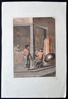 Cca 1810 D.K. Bonatti: Cigarettázó Ifjú. Színes Litográfia, Papír, 22×16 Cm - Incisioni