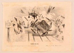 1839 Korai Vasutas Karikatúra. Kőnyomat / Early Caricature Regarding Railways. Lithographed Political Caricature. 24x32  - Incisioni