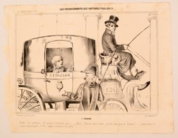 1839 A Közkocsik Kényelmetlenségei Politikai Karikatúra. Kőnyomat / Inconveniences Of Public Transport Lithographed Poli - Incisioni