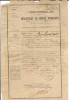 4 RIMA PORT TOULON 1893 - BONHOMME BARTHELEMY 1869 QUARANTE HERAULT CERTIFICAT BONNE CONDUITE - MILITAIRE - Documents