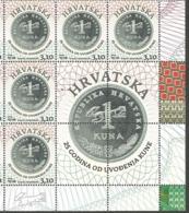 HR 2019-1388 25A°KUNA, HRVATSKA CROATIA, 5 X 1v + 4Labels, MNH - Croatia