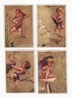 Chromo  LECOMTE CHATEAU  à Bonneval    Série De 4 Chromos    Enfants, Oiseau, Grenouille   9.5 X 6.5 Cm - Trade Cards