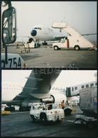 MALÉV Repülőgépek Ki- és Berakodása, Feltöltése, Stb., 2 Db Fotó, 8,5×12,5 Cm - Altre Collezioni