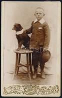 Cca 1900 Boros Elek és Kedvenc Kispajtása, Vizitkártya Méretű, Vintage Fotó Feliratozva, 10,3x6,4 Cm - Altre Collezioni