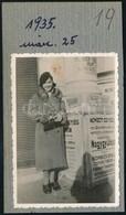 1935 Budapesti Városkép Nemzeti Egység Választási Naggyűlés Plakáttal A Háttérben 6x9 Cm - Altre Collezioni