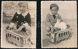 1933 Az 50-es Villamos és Alkalmi Vezetőjük, 2 Db Datált, Vintage Fotó, 11,4x8,5 Cm - Altre Collezioni