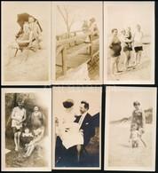 Cca 1920 13 Db, Főként Strandolós, Fürdőruhás Fotó, 11,5×7 Cm - Altre Collezioni