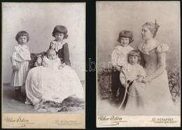 Cca 1900 2 Db Gyermekeket ábrázoló Keményhátú Fotó, Uher Ödön Műterméből, 10,5x16 Cm - Altre Collezioni