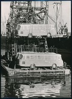 Cca 1950-1960 Ghána, Buszok érkezése, Kipakolás A Hajóról, Németül Feliratozott Sajtófotó, 17,5×13 Cm - Altre Collezioni