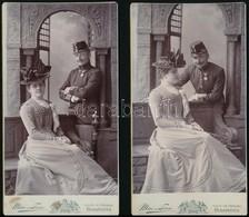 Cca 1880-1900 Házaspár Keményhátú Fotója, Rajta Katonaruhás Férjjel Mai és Társa Fényképészek Műterméből, 11x20,5 Cm - Altre Collezioni