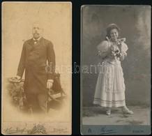 Cca 1880-1900 4 Db Nagyméretű Kabinet Fotó: Urak, Dámák. 11x21 Cm - Altre Collezioni