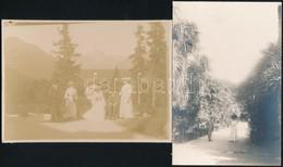 Cca 1900-1920 Hölgyek A Természetben, 4 Db Fotó, 17×11 Cm - Altre Collezioni