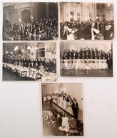 Cca 1935 Társasági élet Budapesten, Bankettek, Bálok, Vacsorák, 5 Db Fotó, 18x24 Cm - Altre Collezioni