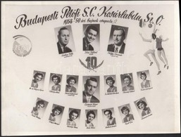 1959 Budapesti Petőfi S. C. Kosárlabda Sz. O., 1958-1959. évi Bajnok Csapata, Kistabló, 17 Nevesített Portréval, 18x24 C - Altre Collezioni