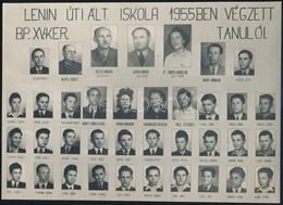 1955 Budapest, XV. Ker., Lenin úti Ált. Iskola Tanárai és Végzett Tanulói, Kistabló Nevesített Portrékkal, 16,7x23,3 Cm - Altre Collezioni