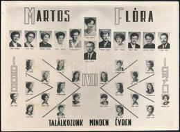 1970 Budapest, Martos Flóra Gimnázium Tanárai és Végzett Tanulói, Kistabló Nevesített Portrékkal, 17,6x23,8 Cm - Altre Collezioni