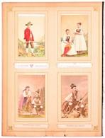 Cca 1860-1870 Osztrák Népviseleteket ábrázoló 12 Db Kézzel Színezett Vizitkártya Méretű Fotó / Austrian Folkwear 12 Hand - Altre Collezioni