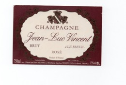 """Etiquette Du Champagne  """"    Jean Luc  Vincent - Champagne"""