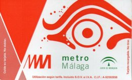 Ticket Metro Of Malaga - Spain . Underground Bahn Simple Pass - Métro