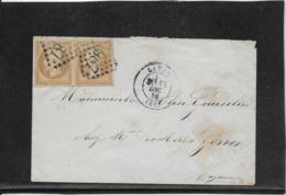 France N°21 Paire Oblitéré GC 1987 & Type 15 Laval (51) - 1870 - TB - 1862 Napoleon III