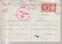 WW2,Correspondance  France Petain  Carte Postale Par Correze, Censure Allemagne - Postmark Collection (Covers)