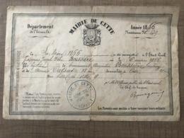 Acte De Naissance 1866 MAIRIE DE CETTE - Documenti Storici
