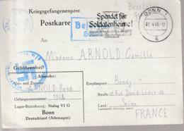 WW2,Correspondance  Prisonier De Guerre Stalag VI G ( Bonn( - Marcophilie (Lettres)