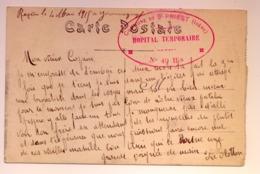 """Cachet """"Hopital Temporaire N°49 Bis Commune De St Priest (Isère) 1915 Frappe Superbe Cp Lyon - WW I"""