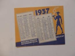 Petit Calendrier De 1937 Sur Le Riz D'Indochine. - Calendars