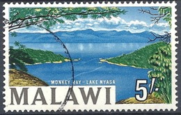Malawi, 1964 Country Views- Monkey Bay - Lake Nyasa, 5sh  Multicol  # S.G. 225 - Michel 11 - Scott 15  USED - Malawi (1964-...)