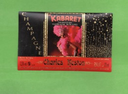 """Etiquette Du Champagne      """"  Charles Heston  """"cabaret Le K De Reims - Champagne"""