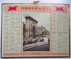 CALENDRIER 1958 ALMANACH DES P.T.T. PTT PORTE SAINT DENIS ARC DE TRIOMPHE PARIS FRANCOIS BLONDEL LOUIS XIV RENAULT 4CV - Grand Format : 1941-60