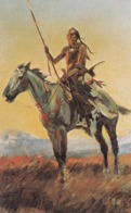 Indian Warrior On Horse , 50-60s - Native Americans