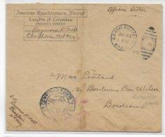 1919 - ARMEE AMERICAINE En FRANCE - ENVELOPPE AEF US APO N° 705 (BORDEAUX) CENSURE => BORDEAUX - Marcophilie (Lettres)