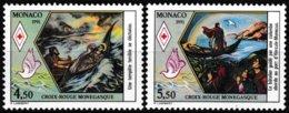 Série De 2 Timbres-poste Gommés Neufs** Croix-Rouge Monégasque Vie De Sainte-Dévôte - N° 1797-1798 (Yvert) - Monaco 1990 - Monaco