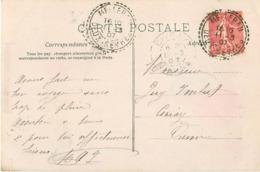 """Rare Cachet Perlé Facteur Boitier """"Melleran Deux Sevres 1907"""" Semeuse Indice=10 Cp Fantaisie - Postmark Collection (Covers)"""