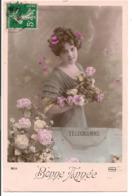 L55B093 - Bonne Année - Portrait Jeune Femme Télégramme Et Roses  - Phébus N°3238 - New Year