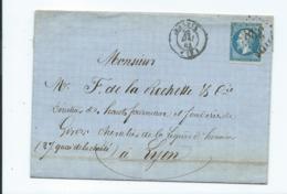 N° YT 22 Sur Lettre De Bastia Pour  Lyon 1863 - Marcophilie (Lettres)