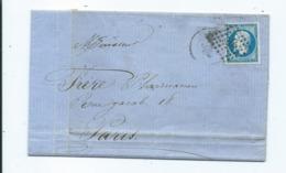 N° YT 14A Sur Lettre De Le Havre Pour Paris  1860 - Marcophilie (Lettres)