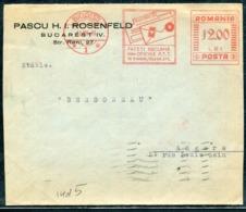 ROUMANIE - O.M. ROUGE DES PTT DE BUCAREST LE 12/6/1939 POUR ANGERS - SUP - Marcofilia - EMA ( Maquina De Huellas A Franquear)