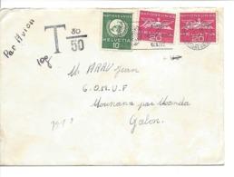 1968 Timbres Taxe Du GABON Sur Lettre De L'ONU Nations Unies Genève, Rare ! United Nations Geneva, Tax Due, Strafporto - Dienstpost