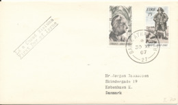 Ireland FDC 30-11-1967 Tercentenary Of The Birth Of DEAN SWIFT 1667 - 1867 Complete Set Of 2 Sent To Denmark - FDC